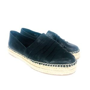 ALDO Black Leather Espadrille Shoe 8